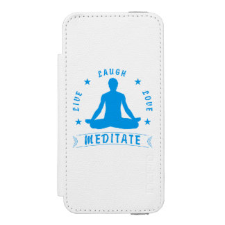 Live Laugh Love Meditate Male Text (blue) Incipio Watson™ iPhone 5 Wallet Case