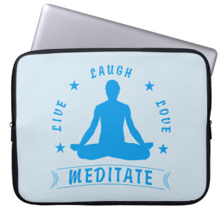 Live Laugh Love Meditate Male Text (blue) Laptop Sleeve