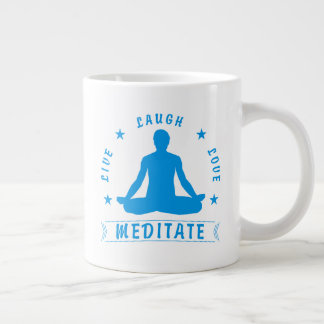 Live Laugh Love Meditate Male Text (blue) Large Coffee Mug