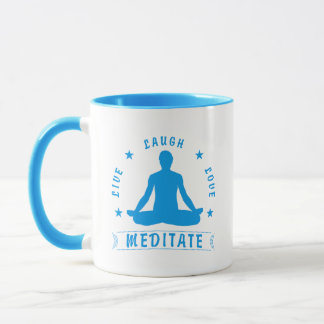 Live Laugh Love Meditate Male Text (blue) Mug