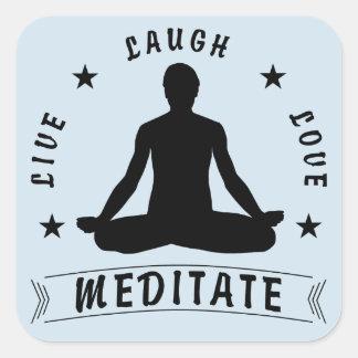 Live Laugh Love Meditate Male Text (blue) Square Sticker