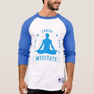 Live Laugh Love Meditate Male Text (blue) T-Shirt