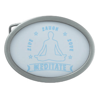 Live Laugh Love Meditate Male Text (neon) Belt Buckles