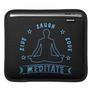 Live Laugh Love Meditate Male Text (neon) iPad Sleeve