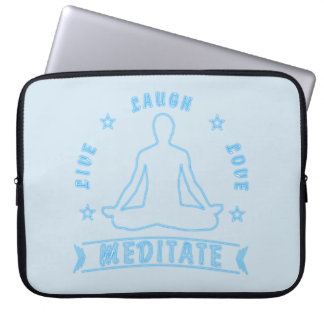 Live Laugh Love Meditate Male Text (neon) Laptop Sleeve