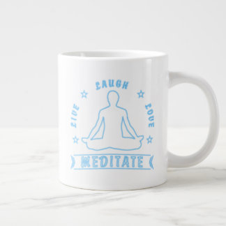 Live Laugh Love Meditate Male Text (neon) Large Coffee Mug