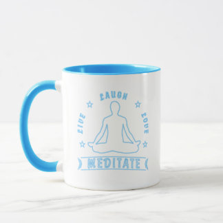 Live Laugh Love Meditate Male Text (neon) Mug