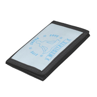 Live Laugh Love Meditate Male Text (neon) Trifold Wallets