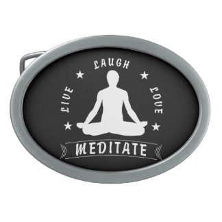 Live Laugh Love Meditate Male Text (wht) Belt Buckles