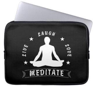 Live Laugh Love Meditate Male Text (wht) Laptop Sleeve