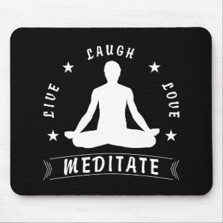 Live Laugh Love Meditate Male Text (wht) Mouse Pad