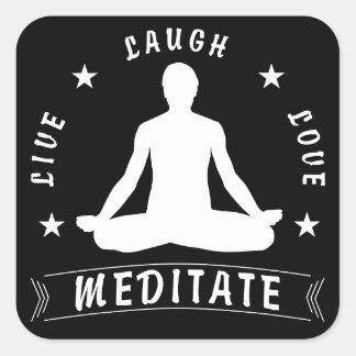 Live Laugh Love Meditate Male Text (wht) Square Sticker