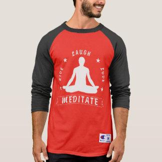 Live Laugh Love Meditate Male Text (wht) T-Shirt