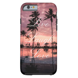 Live Laugh Love Palm Tree Ocean Sunset Phone Case