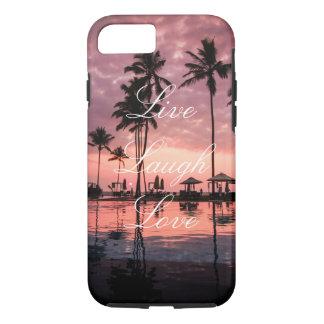 Live Laugh Love Palm Tree Ocean Sunset Phone Case
