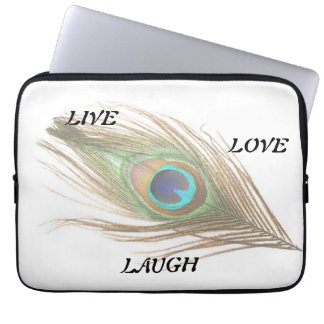 Live Laugh Love Peacock Feather Computer Sleeve