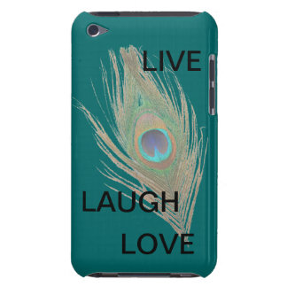 Live Laugh Love Peacock Feather on Teal Barely There iPod Case
