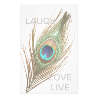 Live,Laugh,Love Peacock Feather Personalised Stationery