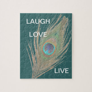 Live,Laugh,Love Peacock Feather Puzzles