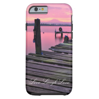 Live Laugh Love Pink Dock Ocean Sunset Phone Case