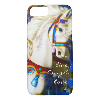 """Live Laugh Love"" Quote White Carousel Horse Photo iPhone 8/7 Case"