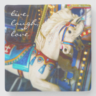 """Live Laugh Love"" Quote White Carousel Horse Photo Stone Coaster"