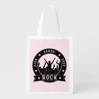 Live Laugh Love ROCK (blk) Reusable Grocery Bag