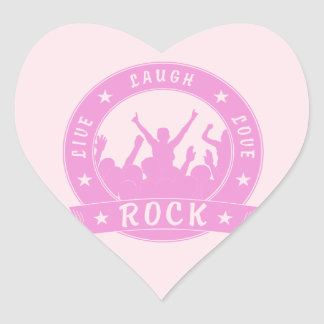 Live Laugh Love ROCK (pink) Heart Sticker