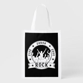 Live Laugh Love ROCK (wht) Reusable Grocery Bag