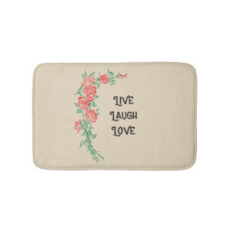 Live Laugh Love Rose Pattern Bath Mat