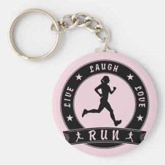 Live Laugh Love RUN female circle (blk) Key Ring