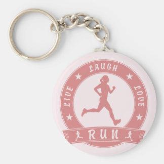 Live Laugh Love RUN female circle (pink) Key Ring