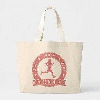 Live Laugh Love RUN female circle (pink) Large Tote Bag
