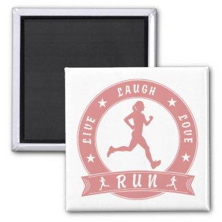 Live Laugh Love RUN female circle (pink) Magnet