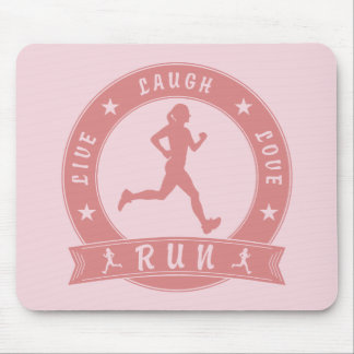 Live Laugh Love RUN female circle (pink) Mouse Pad