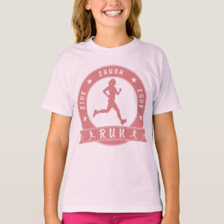 Live Laugh Love RUN female circle (pink) T-Shirt