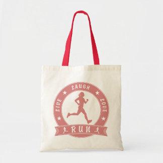 Live Laugh Love RUN female circle (pink) Tote Bag
