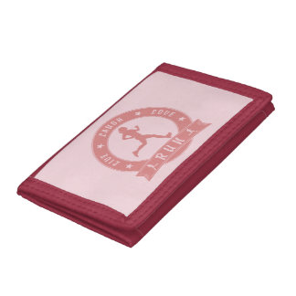 Live Laugh Love RUN female circle (pink) Tri-fold Wallets