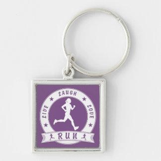Live Laugh Love RUN female circle (wht) Key Ring