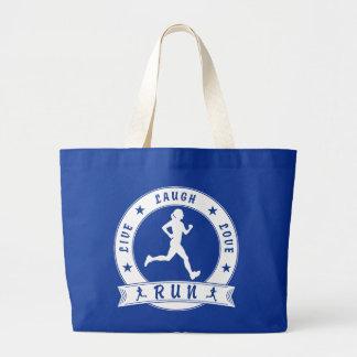 Live Laugh Love RUN female circle (wht) Large Tote Bag
