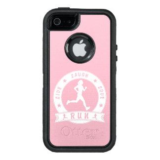 Live Laugh Love RUN female circle (wht) OtterBox Defender iPhone Case