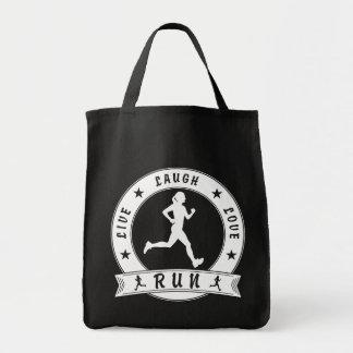 Live Laugh Love RUN female circle (wht) Tote Bag