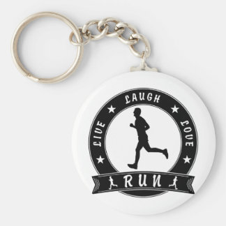Live Laugh Love RUN male circle (blk) Key Ring