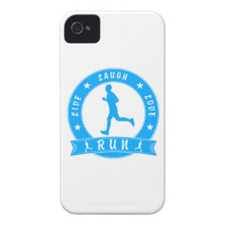 Live Laugh Love RUN male circle (blue) Case-Mate iPhone 4 Case