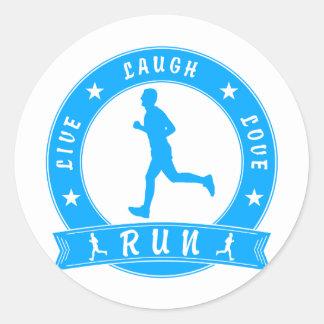 Live Laugh Love RUN male circle (blue) Classic Round Sticker