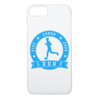 Live Laugh Love RUN male circle (blue) iPhone 8/7 Case
