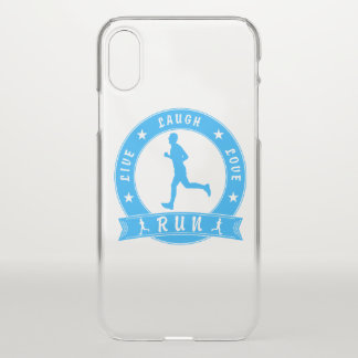 Live Laugh Love RUN male circle (blue) iPhone X Case