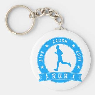 Live Laugh Love RUN male circle (blue) Key Ring