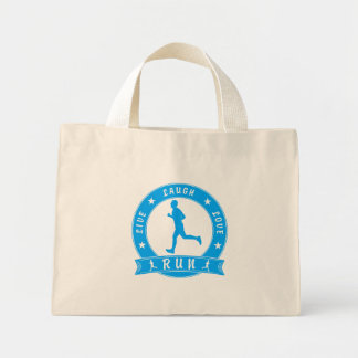 Live Laugh Love RUN male circle (blue) Mini Tote Bag