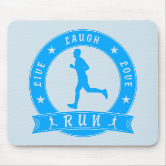 Live Laugh Love RUN male circle (blue) Mouse Pad